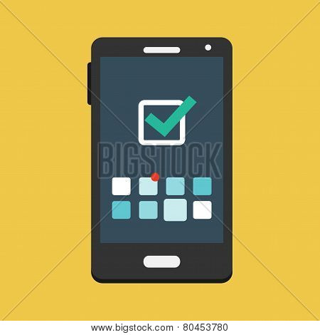 Mobile Phone and Icon with Symbol of Tick Mark