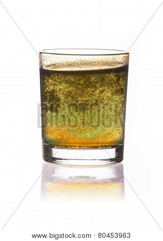 Dirty water in glass isolated on white background