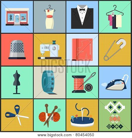 Sewing Equipment and Needlework Flat Icons
