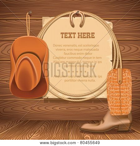 Cowboy Hat And American Lasso.vector Old Paper For Text On Wood Walll
