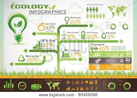 Ecology Infographics, Vector Icons Collection