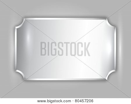 Vector abstract precious metal silver award plate