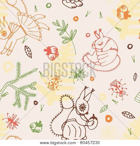 Abstract Seamless Background, Squirrel And Forrest Life Hand Drawn Pattern