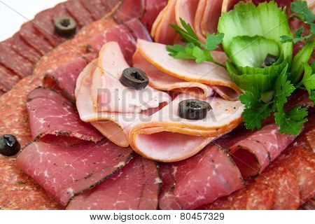 Plate Of Salami, Meat Delicatessen