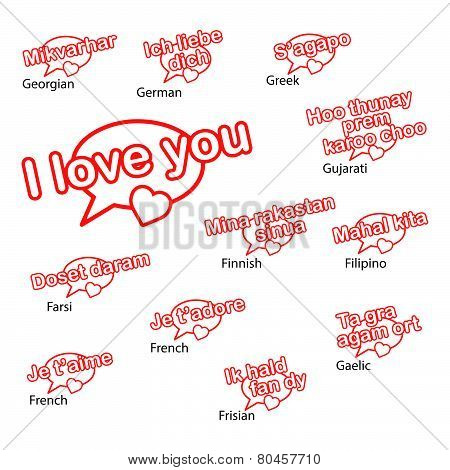 word i love you in different languages love concept.