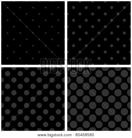 Tile vector black and grey pattern set with polka dots