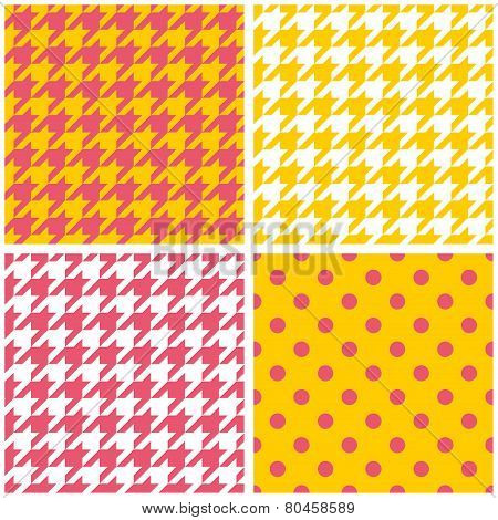 Tile vector pattern set with houndstooth print and polka dots