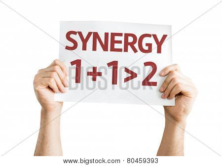 Synergy 1+1>2 card isolated on white background