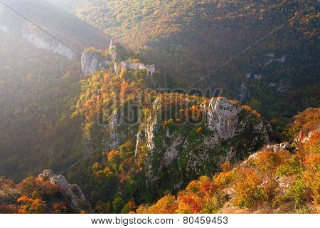 Medieval Fortress In The Autumn Ambience
