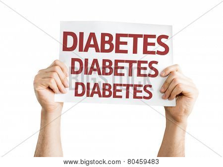 Diabetes card isolated on white background