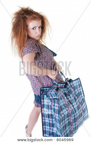Tired Woman With Shopping Bag.