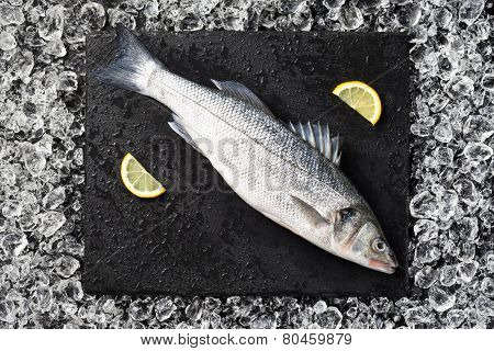 Fresh Fish On Ice On A Black Stone Table Top View