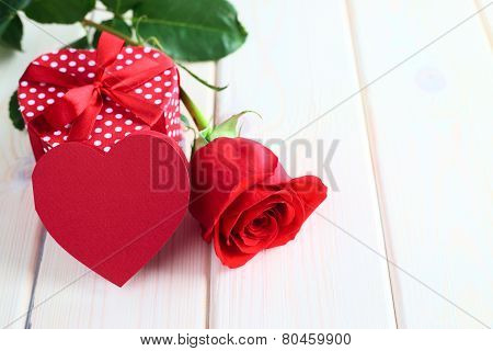 Valentines Day Gift And Rose