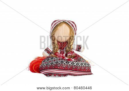 Ukrainian Traditional Skeined Toy Doll Isolated Over White