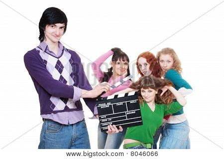 Man With Clapboard Over Women