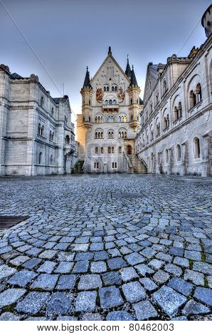 Castle Of Neuschwanstein Near Munich In Germany