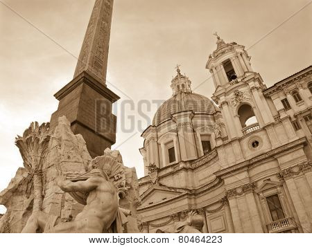 Sant'agnese And Fountain, Rome - Monochrome