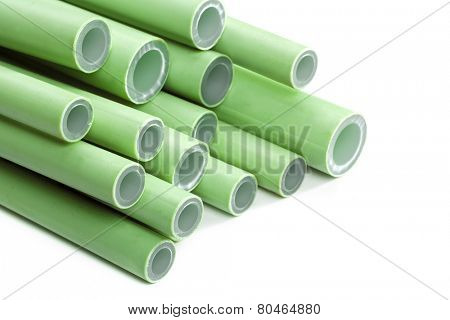 Green plastic pipes