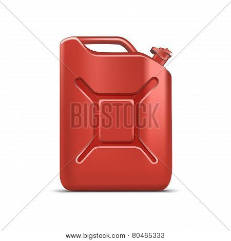 Blank Red Jerrycan Canister Gallon Oil Cleanser Detergent Abstergent Isolated