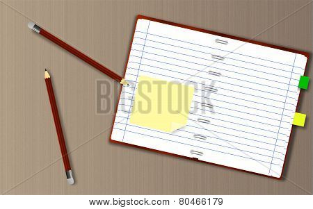 Notepad with pencils