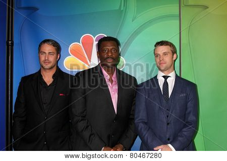 LOS ANGELES - JAN 16:  Taylor Kinney, Eamonn Walker, Jesse Spencer at the NBCUniversal TCA Press Tour at the Huntington Langham Hotel on January 16, 2015 in Pasadena, CA