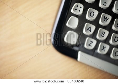 Typewriter keys on desk