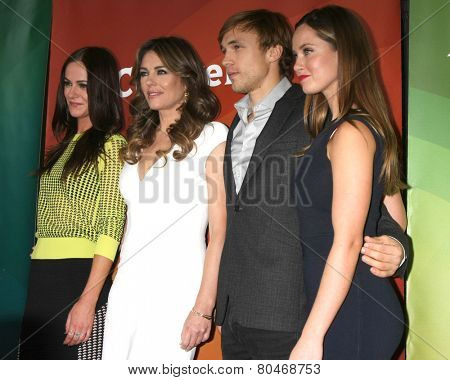 LOS ANGELES - JAN 15:  Alexandra Park, Elizabeth Hurley, William Moseley, Merritt Patterson at the NBCUniversal Cable TCA Win 2015 at a The Langham Huntington Hotel on January 15, 2015 in Pasadena, CA