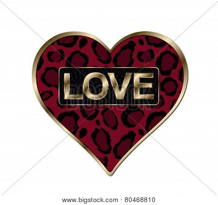 Red Animal Print Heart