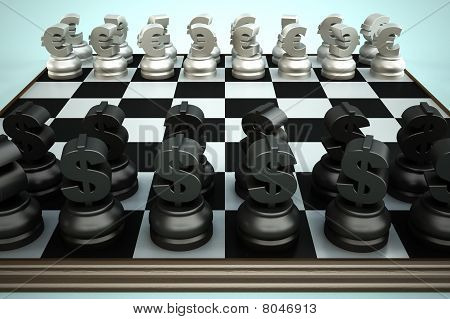 Chessboard with euro and dollar currency symbols