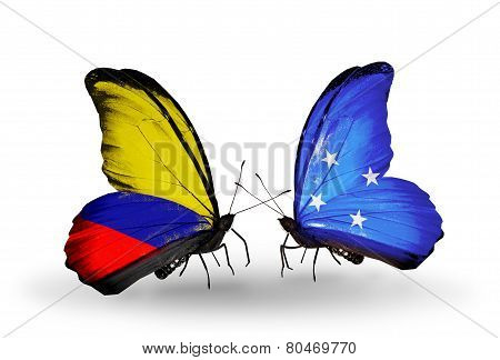 Two Butterflies With Flags On Wings As Symbol Of Relations Columbia And Micronesia