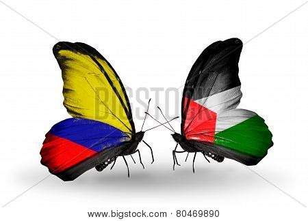 Two Butterflies With Flags On Wings As Symbol Of Relations Columbia And  Palestine