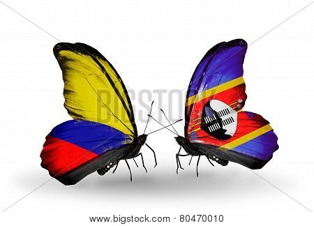 Two Butterflies With Flags On Wings As Symbol Of Relations Columbia And Swaziland