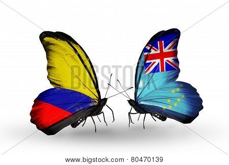 Two Butterflies With Flags On Wings As Symbol Of Relations Columbia And  Tuvalu