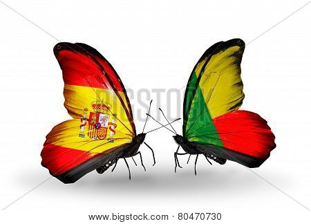 Two Butterflies With Flags On Wings As Symbol Of Relations Spain And Benin