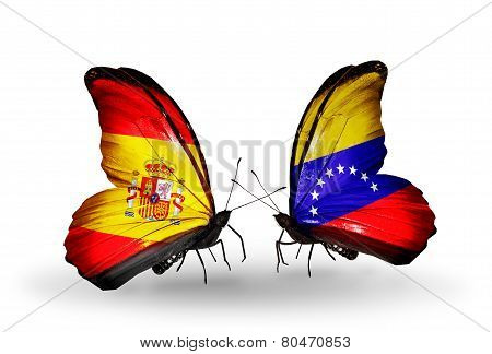 Two Butterflies With Flags On Wings As Symbol Of Relations Spain And Venezuela