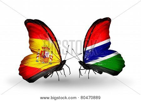 Two Butterflies With Flags On Wings As Symbol Of Relations Spain And Gambia