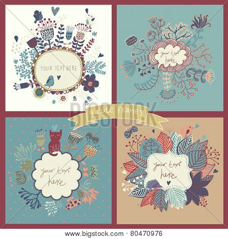 Awesome set of four floral backgrounds with flowers, butterflies, birds, hedgehog and cat. Vintage frames with place for text in pastel colors. Spring time vector cards. Wedding invitation design.
