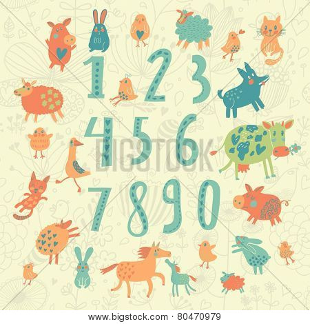 Learn to count concept set in cartoon style. All numbers and funny cartoon animals: cat, dog, cow, horse, rabbit and others in vector
