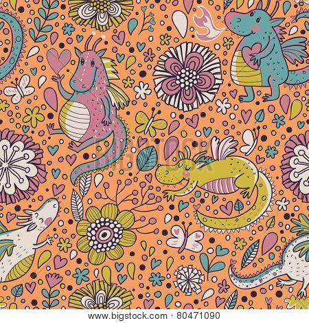 Awesome fantastic background with flowers and cartoon dragons. Seamless pattern can be used for wallpapers, pattern fills, web page backgrounds,surface textures.