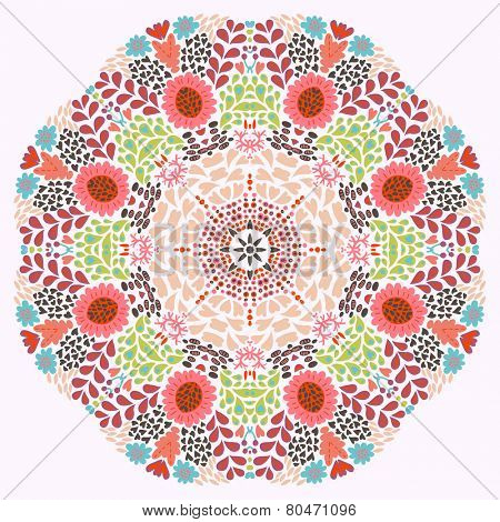 Circle ornament, ornamental round lace with floral elements. Vector mandala design element