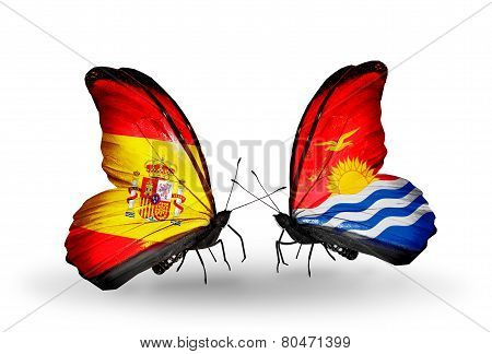 Two Butterflies With Flags On Wings As Symbol Of Relations Spain And  Kiribati