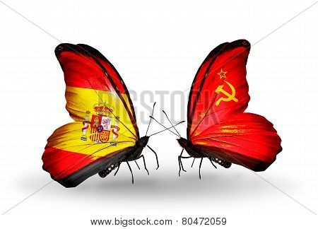 Two Butterflies With Flags On Wings As Symbol Of Relations Spain And Soviet Union