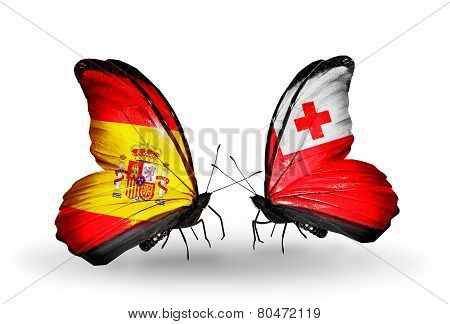 Two Butterflies With Flags On Wings As Symbol Of Relations Spain And Tonga