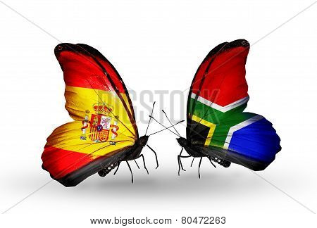 Two Butterflies With Flags On Wings As Symbol Of Relations Spain And South Africa