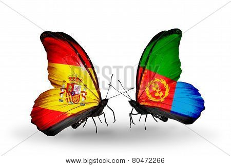 Two Butterflies With Flags On Wings As Symbol Of Relations Spain And Eritrea