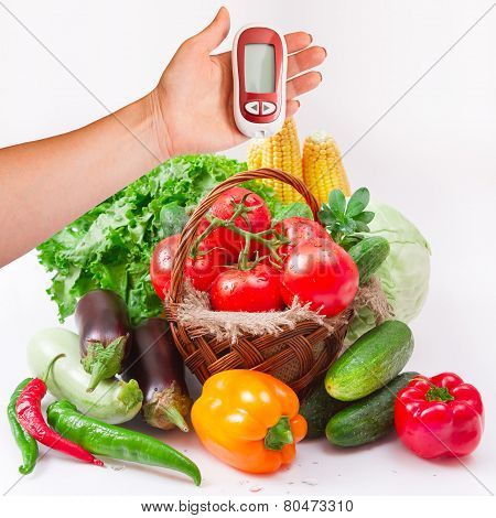 Vegetables Isolated On White. Woman Testing For High Blood Sugar.