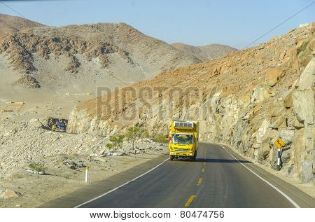 PERU, MAY 21, 2014: road from Pan-American Highway to Arequipa