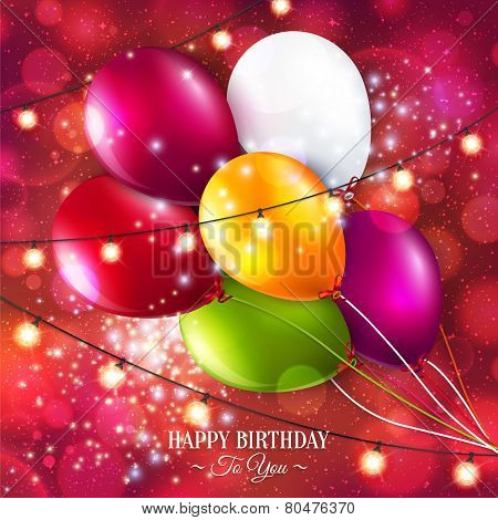 Vector birthday card with balloons and lights.