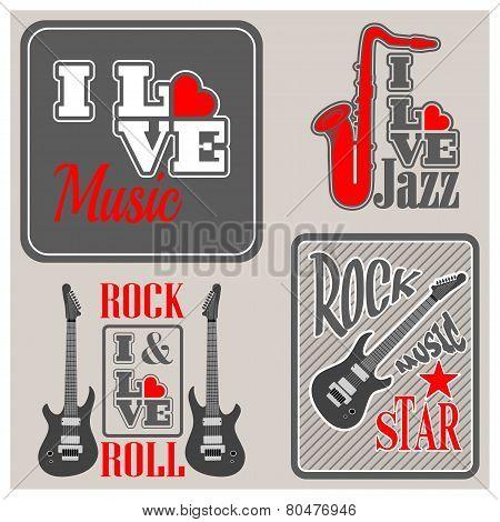 I Love Music Icons Set