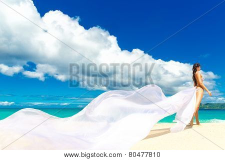 Beautiful Fiancee With Big Long White Train, Stand On Shore Sea